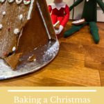 Baking a Christmas gingerbread house kit