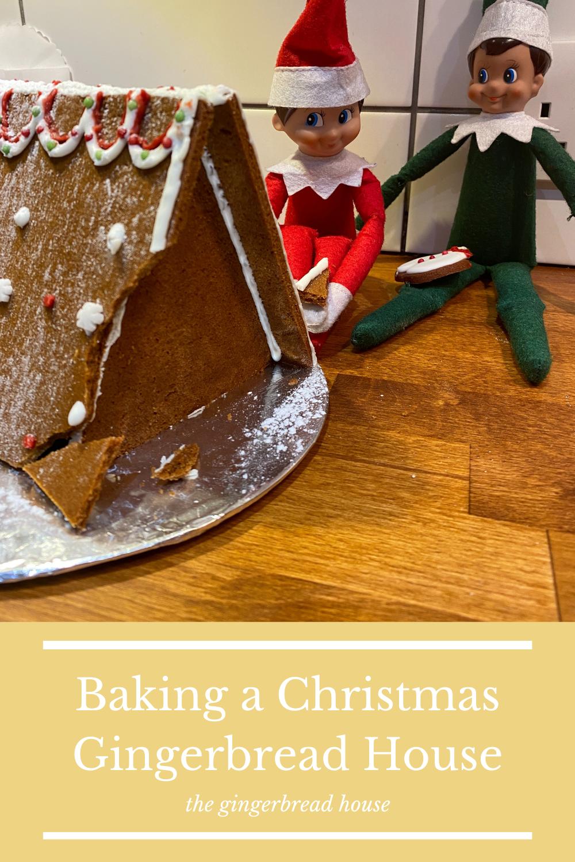 Baking a Christmas gingerbread house kit