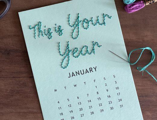 January stitched calendar