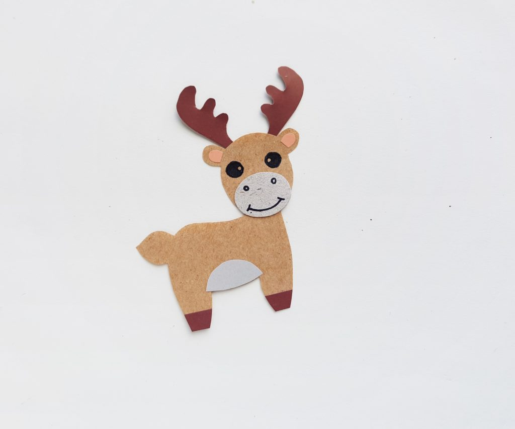 Paper moose puppet activity for kids