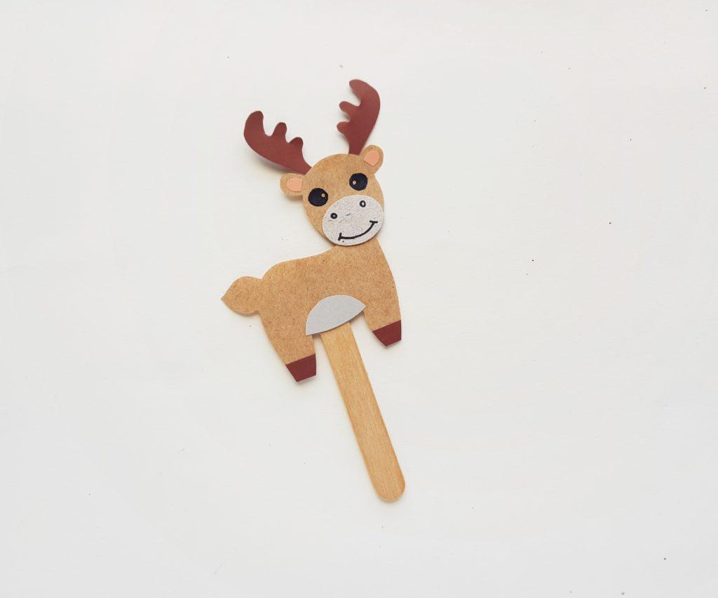Paper moose puppet craft for kids
