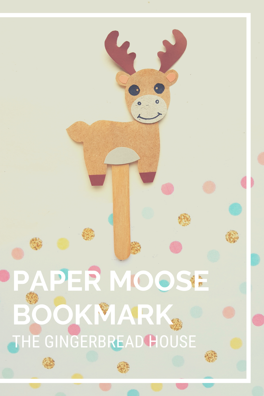 Paper moose bookmark craft for kids
