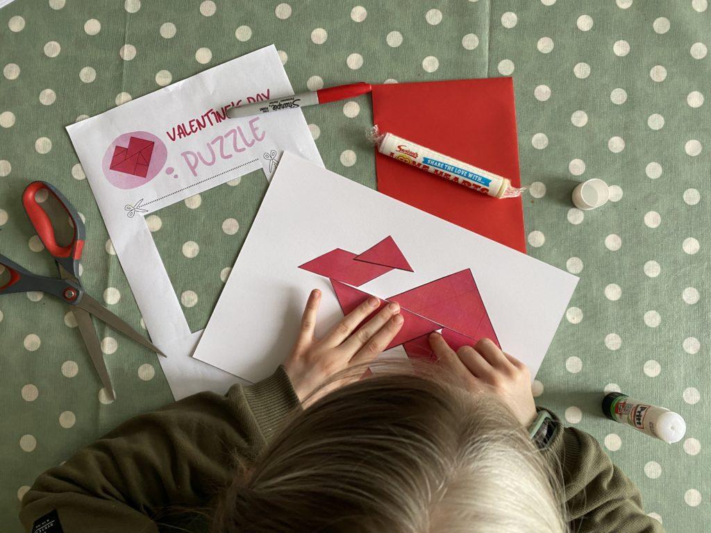 Valentine tangram puzzle for teens