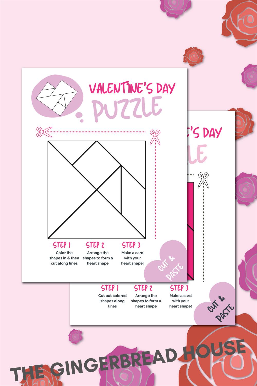 STEM Valentine tangram for kids