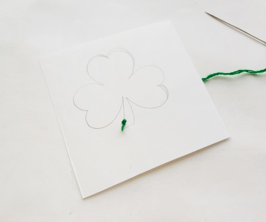 Shamrock stitching craft for kids