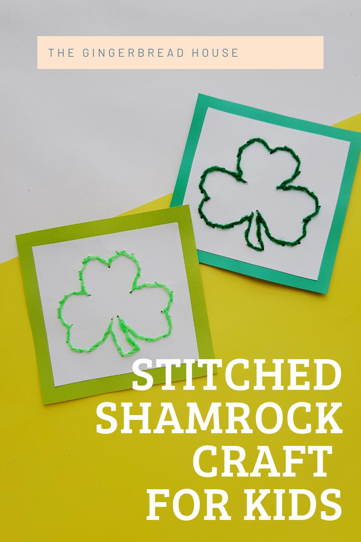Stitched Shamrock craft for kids