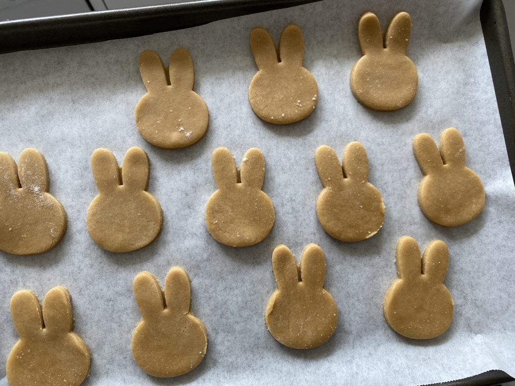 baking gingerbread bunnies