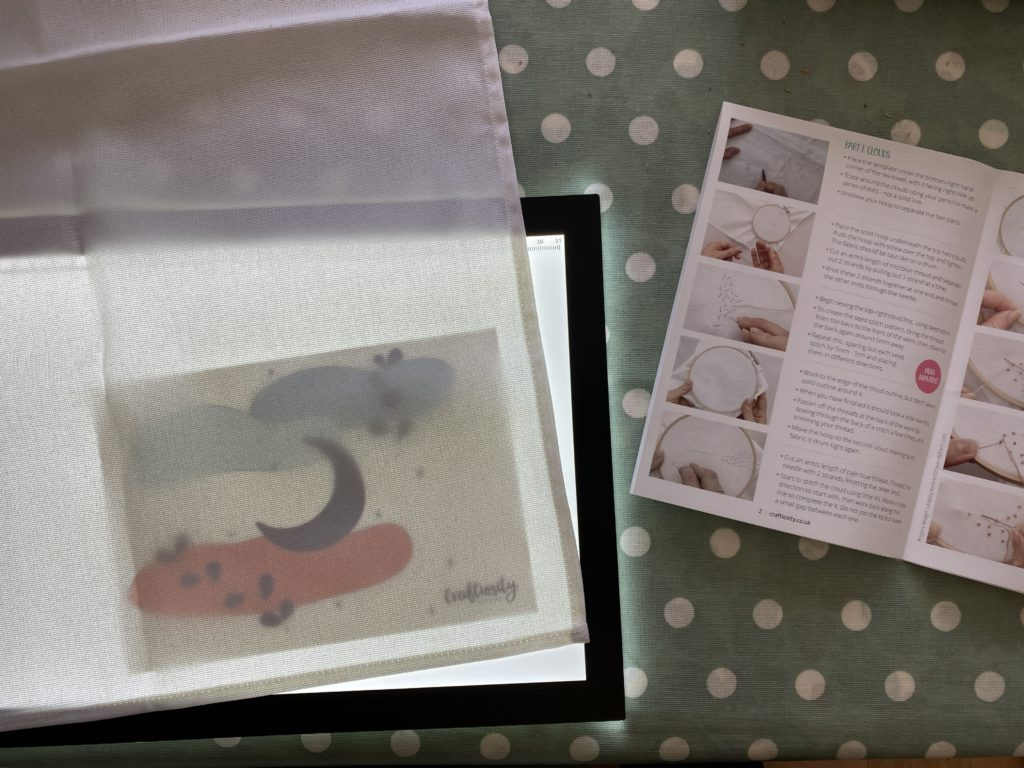 using a light box to transfer embroidery designs