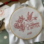 Outdoors is better {modern embroidery hoop}
