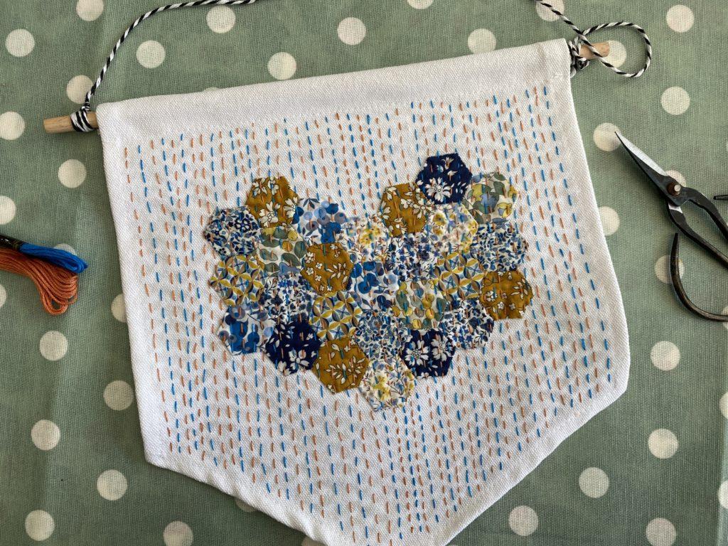 kantha stitch on Liberty fabric