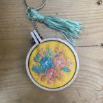 Floral embroidered keyring kit
