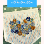 Liberty heart banner with kantha stitch