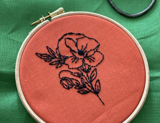 poppy embroidery hoop