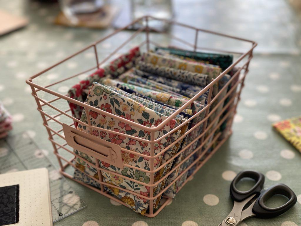 box of Liberty fabrics