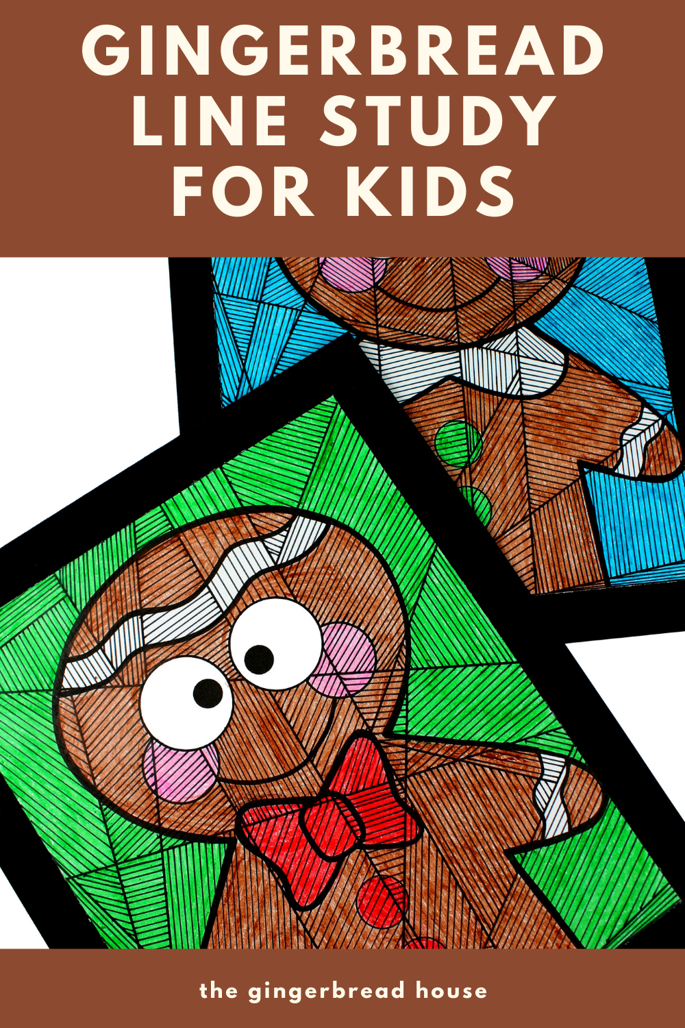 Gingerbread boy and girl line study for kids