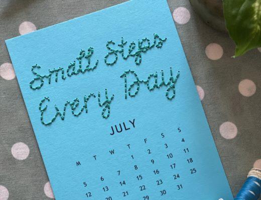 July stitched calendar