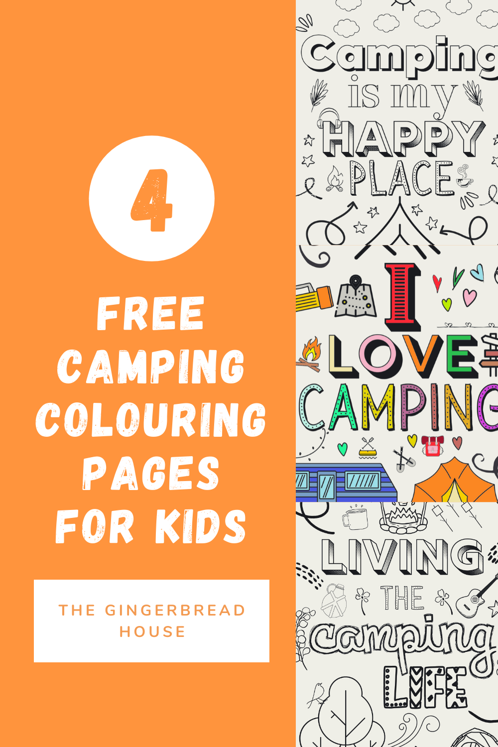 Free camping colouring pages for kids