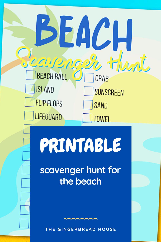 {Free printable} Beach Scavenger Hunt