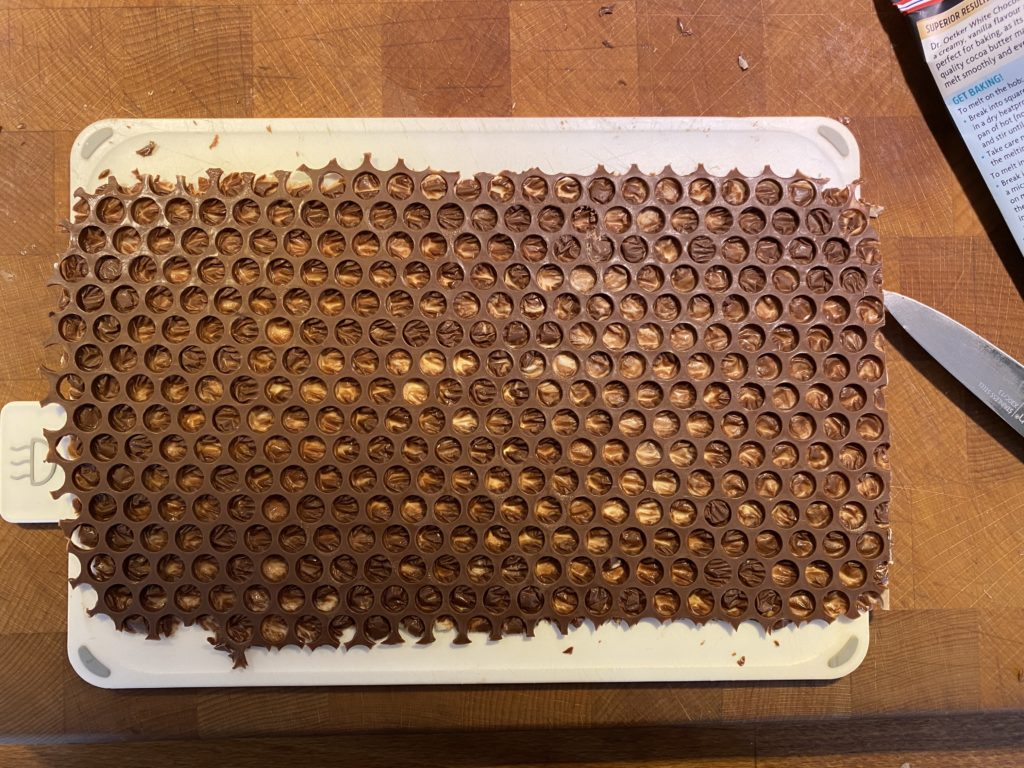 chocolate on bubble wrap