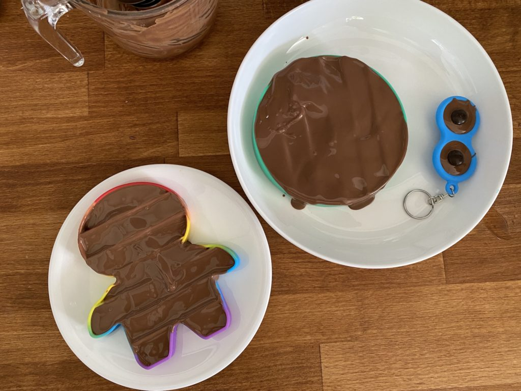 melted chocolate in Pop Its toys
