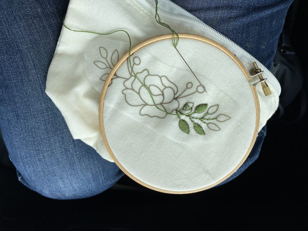 Using stick on embroidery transfers