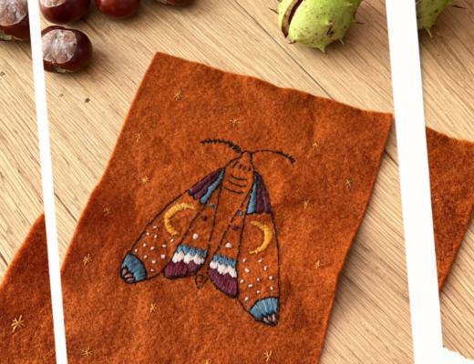 Embroidered felt Desert Moth banner