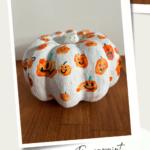 Fingerprint painted pumpkin for kids