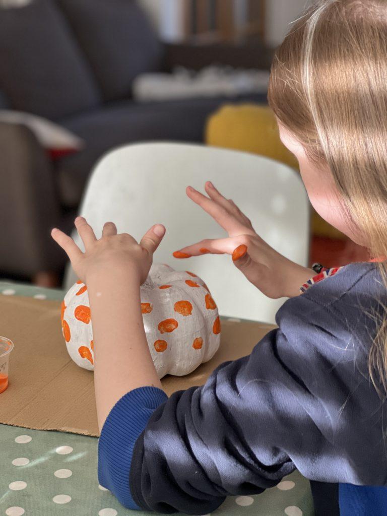 fingerprint painted pumpkin